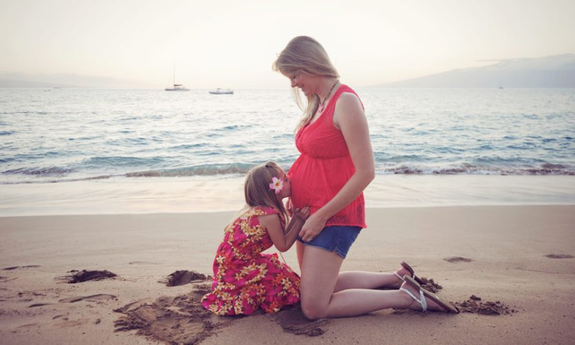 Pregnant mom with daughter